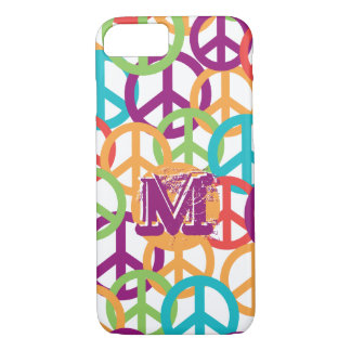 Personalize Monogram Modern Peace Symbols iPhone 7 Case