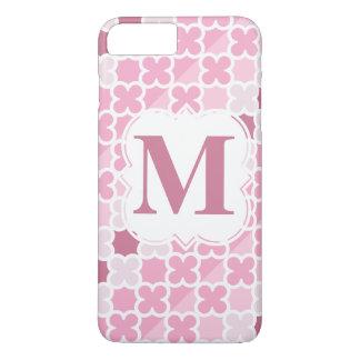 Personalize Monogram Retro Pink Quatrefoil Pattern iPhone 7 Plus Case