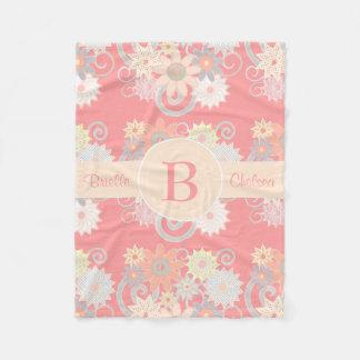 Personalize Monogram Watercolor Flowers, Pink Fleece Blanket