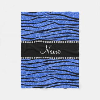 Personalize name blue glitter zebra stripes fleece blanket