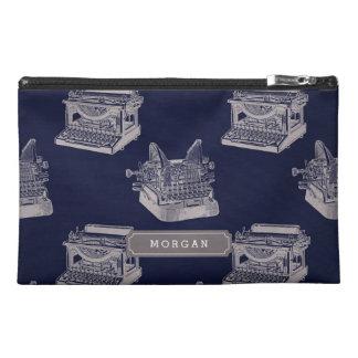 Personalize Name Blue Vintage Typewriter Pattern Travel Accessory Bag