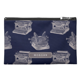 Personalize Name Blue Vintage Typewriter Pattern Travel Accessory Bags