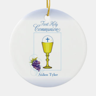 Personalize Name Boy First Communion Chalice, Host Ceramic Ornament