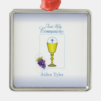 Personalize Name Boy First Communion Chalice, Host Metal Ornament