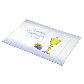 Personalize Name Boy First Communion Chalice, Host Placemat