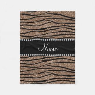Personalize name brown glitter zebra stripes fleece blanket