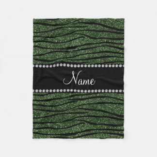 Personalize name forest green glitter zebra stripe fleece blanket