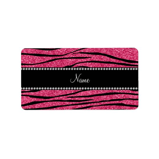 Personalize name fuchsia pink glitter zebra stripe