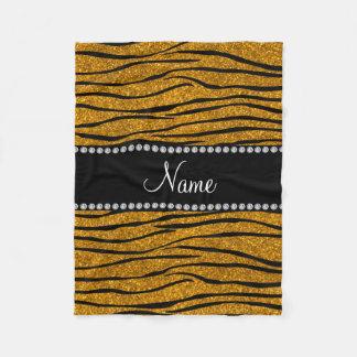 Personalize name gold glitter zebra stripes fleece blanket