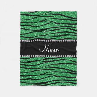 Personalize name green glitter zebra stripes fleece blanket
