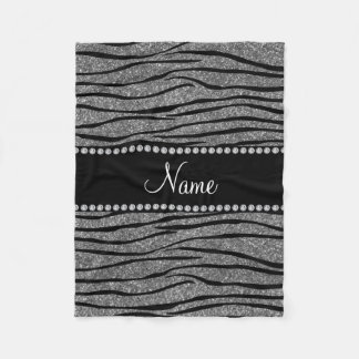Personalize name light grey glitter zebra stripes fleece blanket