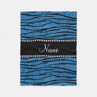 Personalize name misty blue glitter zebra stripes fleece blanket