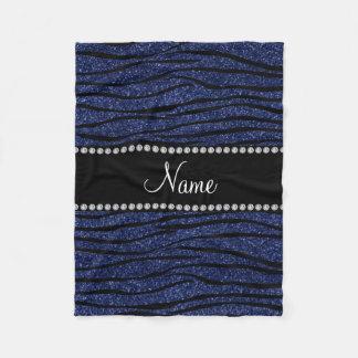 Personalize name navy blue glitter zebra stripes fleece blanket