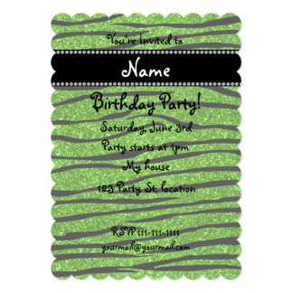 "Personalize name neon green glitter zebra stripes 5"" x 7"" invitation card"