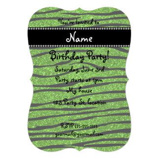 Personalize name neon green glitter zebra stripes invite