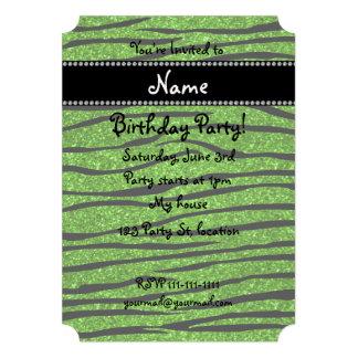 Personalize name neon green glitter zebra stripes custom invites