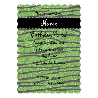 Personalize name neon green glitter zebra stripes invitations