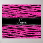 Personalize name neon hot pink glitter zebra strip