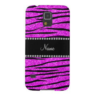 Personalize name neon pink glitter zebra stripes cases for galaxy s5