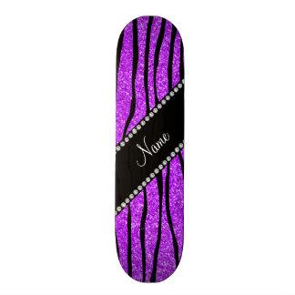Personalize name neon purple glitter zebra stripes skateboard decks