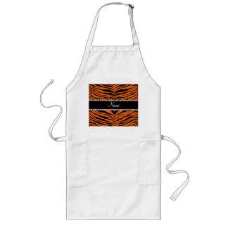 Personalize name orange tiger stripes aprons