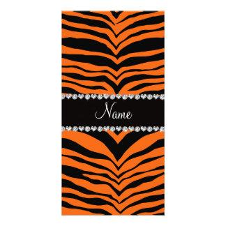 Personalize name orange tiger stripes photo cards