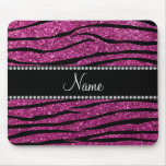 Personalize name pink glitter zebra stripes mousepad