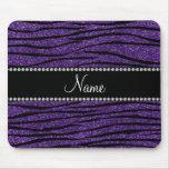Personalize name purple glitter zebra stripes