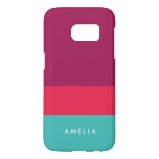 Personalize Name Purple Pink Turquoise Color Block Samsung Galaxy S7 Case