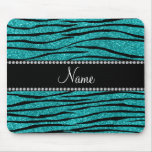 Personalize name turquoise glitter zebra stripes mouse pad
