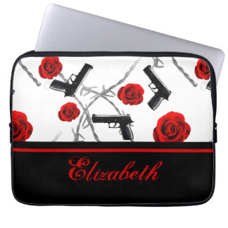 Personalize Name Women's Red Rose Gun Barbed Wire Laptop Sleeves