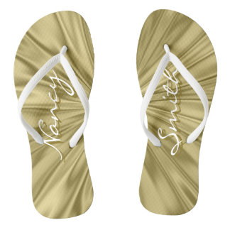 Personalize: Names Faux Gold Satin Fabric Texture Flip Flops