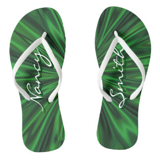 Personalize: Names Faux Green Satin Fabric Texture Flip Flops