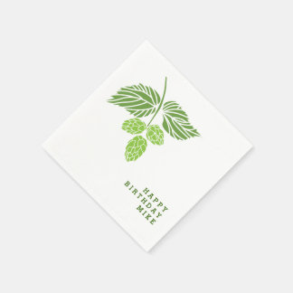 Personalize napkins with hop illustration, beer paper napkin