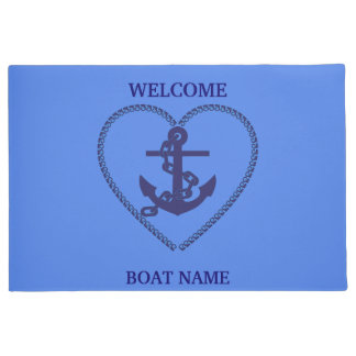 Personalize Nautical Blue Welcome Boat Name Stripe Doormat