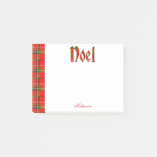 """Personalize: """"Noel"""" - Christmas Tartan Typography Post-it Notes"""