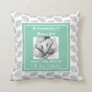 Personalize Nursery Birth Announcement, Mint Green Throw Pillow