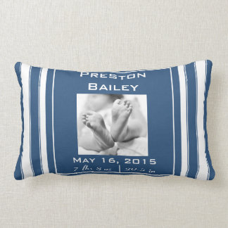 Personalize Nursery Birth Announcement, Navy Blue Lumbar Pillow