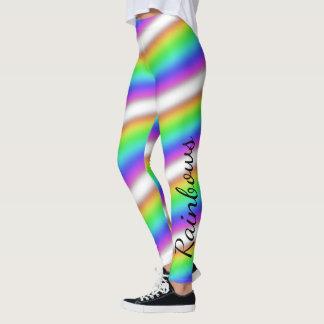 Personalize: Ombre of Rainbow Colors Pastel Stripe Leggings