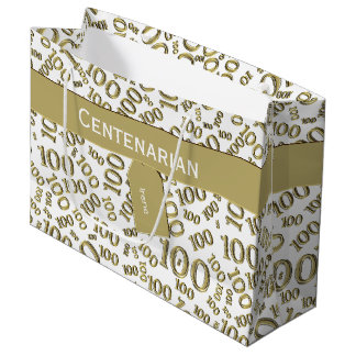 Personalize: Over The Hill 100th Birthday Theme Large Gift Bag