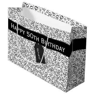 Personalize: Over The Hill 50th Birthday Theme Large Gift Bag