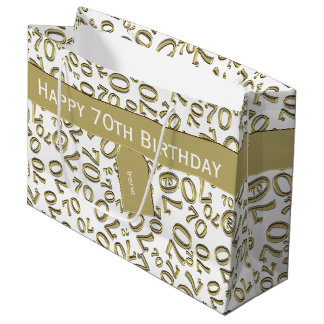 Personalize: Over The Hill 70th Birthday Theme Large Gift Bag