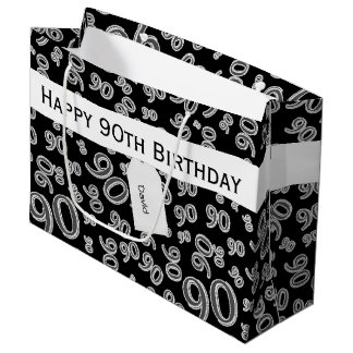 Personalize: Over The Hill 90th Birthday Theme Large Gift Bag