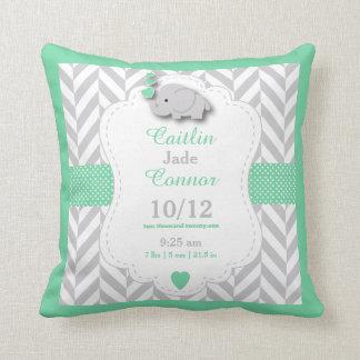 Personalize - Pastel Green, Gray & White Elephant Throw Pillow