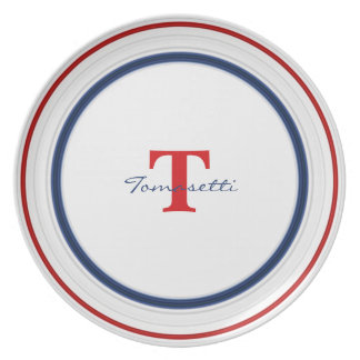 Personalize:  Patriotic Red White and Blue Circles Plate