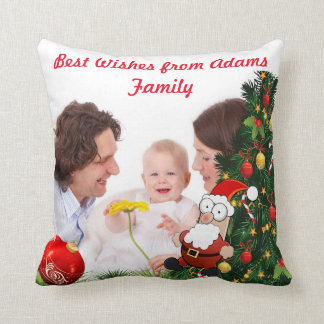 Personalize photo image Christmas holiday Throw Pillow