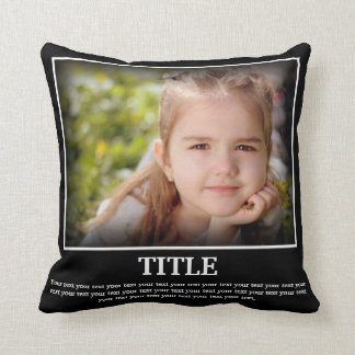 Personalize Photo & Text (Poster Style) Throw Pillow