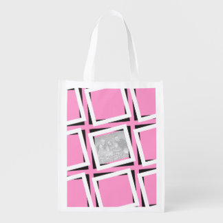 Personalize Photos Pink Framed Pattern Reusable Grocery Bag