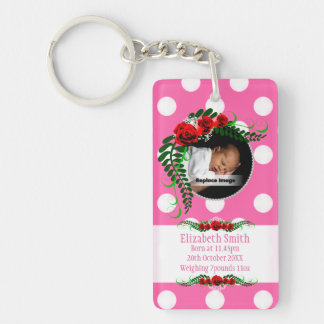 Personalize Pink Baby Girl Memento Roses Pearls Single-Sided Rectangular Acrylic Keychain