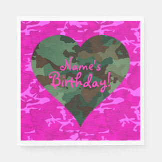 Personalize  - Pink Camo Disposable Napkin